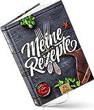 DIN A5 Rezeptbuch zum Selberschreiben für 100 Lieblingsrezepte, 192 Seiten, Premium Hardcover, hochwertige Fadenbindung, blanko DIY Backbuch, Kochbuch selbst schreiben (Schiefergrau)