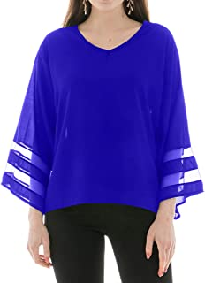 INFLATION Chiffon Blouses for Women, V Neck 3/4 Bell Sleeve Mesh Panel Blouses Loose Top Shirts