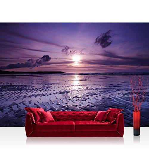 Vlies Fototapete 350x245 cm PREMIUM PLUS Wand Foto Tapete Wand Bild Vliestapete - Sonnenuntergang Tapete Meer Strand Himmel Sonnenuntergang lila - no. 310