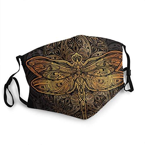 HUIDE Protector facial con diseño de libélulas doradas y estilizadas en la nariz reutilizables, lavables, a prueba de polvo y suciedad.