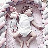 ベビーベッドガード 赤ちゃん 結び目 ロング サイドガード 衝突防止 ベッドガード 抱き枕 ノットクッション インパクト保護 バンパークッション 部屋飾り 出産祝い (グレー/ピンク, 2m)