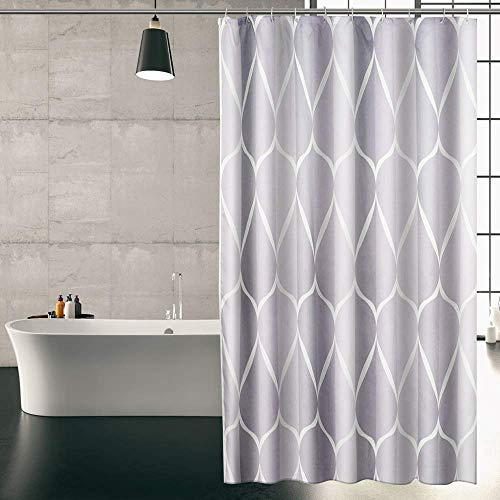KIPIDA Duschvorhäng, Duschvorhang Anti-Schimmel Duschvorhang aus Polyester Wasserabweisend Shower Curtain Anti-Bakteriell mit 8 Duschvorhangringen,180 x 200cm,weiß grau