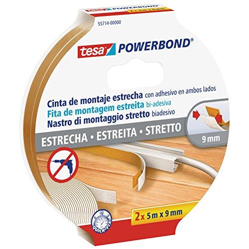 tesa Powerbond–schmale Pack 2-Klebeband, doppelseitig, 5m x 9mm