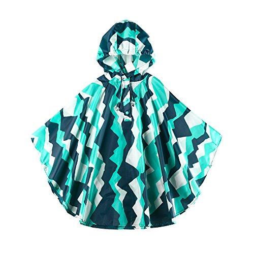 Spring Fever Kids Baby Girls Boys Toddler Hooded Lightweight Cute School Backpack Rain Ponchos Jackets Raincoats F Teal & Aqua Medium
