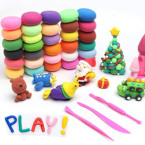 Air Dry Clay, 24Pcs Modeling Clay Set with Sculpting Tools, Foam Clay DIY Toy Kits, Gifts for Kids( Over 3 Years) Early Education Toys, Non-Toxic Ultra Light Soft Crafting Polymer Clay for Adults