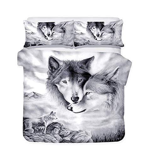 Loussiesd Juego de ropa de cama con diseño de lobo en 3D, funda nórdica con 2 fundas de almohada de 3 piezas, 155 x 220 cm + 80 x 80 cm, suave y transpirable, con cremallera, color blanco y negro