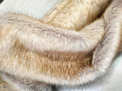 Shaggy blanco teñido con punta amarilla, tela suave y difusa de pelo largo, 35 mm, para manualidades, costura, disfraces, collar de piel, juguete, disfraz, cojín, decoración, 20 x 170 cm