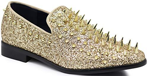 SPK09 Men's Vintage Spike Dress Loafers Slip On Fashion Shoes Classic Tuxedo Dress Shoes (11 D(M) US, Gold (New))
