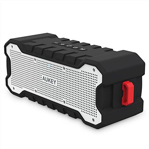 AUKEY Outdoor Bluetooth Lautsprecher mit 24 Stunden Spielzeit, Tragbarem Wasserschutz und Verbessertem Bass, Kabelloser Lautsprecher für iPhone, iPad, Samsung und Weitere Geräte - SK-M12, Schwarz