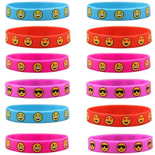 knowing 12 Stück Kinder Silikon Armbänder,Emoji Silikon Armbände, Für Kinder Party Supplies, Neuheit Emoji Tütenfüller Kindergeburtstag Mitgebsel,4 Farbe