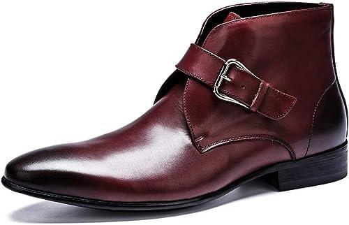 ZHRUI Stiefel con Hebilla para herren Stiefel Formales de Moda con Punta de Cuero Genuino (Farbe   rot, tamaño   EU 41)