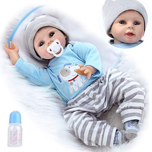 ZIYIUI Realistico 55 cm Bambole Reborn Bambino Bambola Reborn Maschio Bambolotti di Silicone Reborn Babys Dolls Ragazzo Bocca Magnetica Bambini Giocattoli 22 Pollice