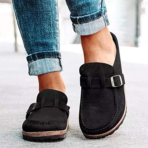 OcaseQ Sandalias de Planas para Mujer Verano 2020 Moda Pala Cerrada Zuecos Cómodo Ligero Antideslizantes Zapatillas para Jardín,Negro,42