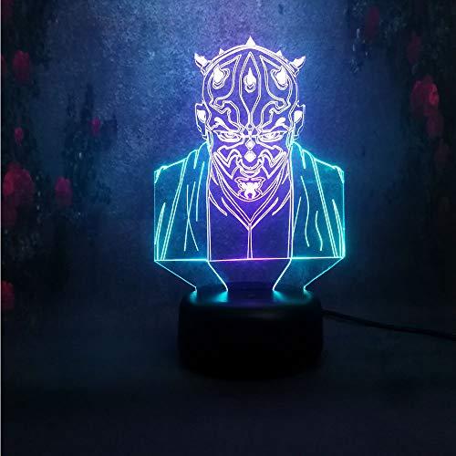 Colorida lámpara de mesa samurai 3D tridimensional LED niños USB luz de degradado de color atmosférico | Regalo de halloween colorida luz de noche multicolor