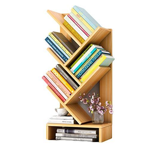 Boom Boekenplank, Dossierhouder, Vloerstaande Houten Boekenkast, Display Opbergrek Organisator Planken voor Woonkamer Thuiskantoor Studeerkamer,Brown,5Tier L