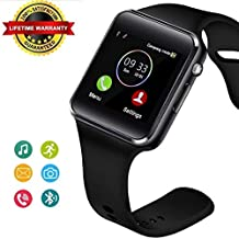 Bluetooth Smart Watch Fitness Tracker, Touch Screen Smart Wrist Smartwatch Support SIM SD Card Slot Make/Answer Phone Camera Pedometer Compatible Android iOS Samsung LG for Women Men Kids (Black)