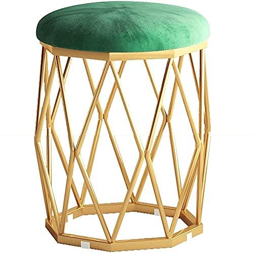 Osmanska sminka stol Vardagsrumsstol Kökstolar med mjukt sammet sitsmetallben stoppade fotstödspål (färg: grön) Fantastic