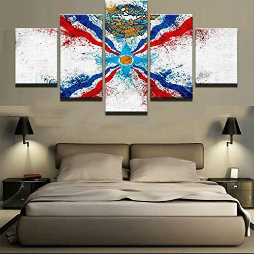 120Tdfc Assyrische Flagge Wohnzimmer Deko 5 Teilig Leinwandbilder Wanddeko Wandbilder Modern XXL Drucken HD Poster 150X80Cm Kreatives Geschenk
