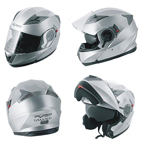 A-Pro Helm Klapphelm Innensonnenblende Motorradhelm Modular Silber S