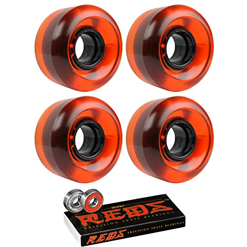 TGM Skateboards Skateboard Cruiser Wheels 58mm x 36mm 83A 021C Orange Clear Bones Reds Bearings