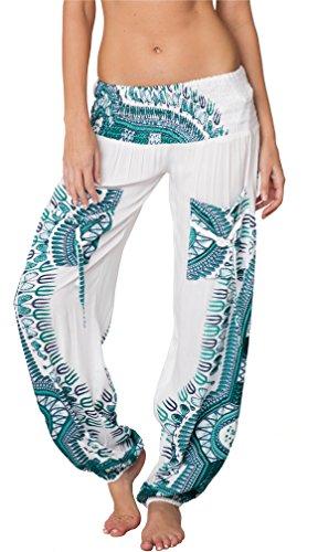 INGEAR Smocked Harem Pants Hippie Bohemian Casual Gypsy Print Yoga Baggy Boho (Large, White/Turquoise)