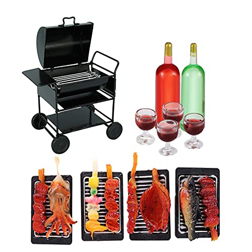 11Pcs Dollhouse BBQ Set,1:12 Dollhouse BBQ Grill Ovens and Food Drinks Set,Mini Cooking Tool Roasting Cart Firewood Rack Holder Kitchen Accessories for Garden Decoration
