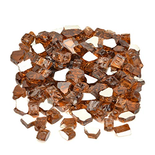 Mr. Fireglass 1/2' Reflective Fire Glass for Fire Pit, Fireplace, Fire Table in Copper - 20 Pounds