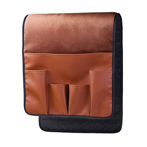 epoxios 5 bolsillos para silla, ahorro de espacio, bolsa de almacenamiento para sofá, organizador antideslizante, para el hogar, reposabrazos, mando a distancia, piel sintética (marrón claro)