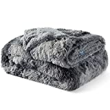 Bedsure Faux Fur Bed Blankets Queen Size Grey - Tie-dye Fuzzy Fluffy Soft Plush Cozy Shaggy Shag Furry Warm Thick Sherpa Big Large Queen Blanket for Bed, 90x90 inches