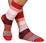 CRÖNERT Socken Longsocks Söckchen mit Rollrand im Design Multiringel (35-38, weinrot)