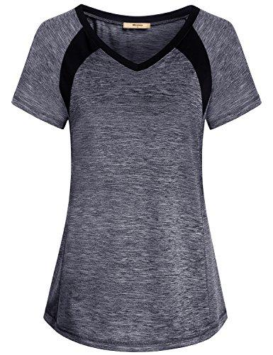 Miusey Short Sleeve Blouses for Women, Ladies V Neck Triblend Gym Workout Activewear Slimming Running Tshirt Top Raglan Exercise Soft Cozy Sassy Beautiful Grey M