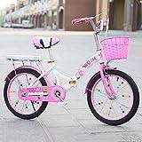 Bicicleta para niños Big Boy 20 Pulgadas Bicicleta de 18 Pulgadas, Primaria, niño y niña Princesa Dos Bicicletas Plegables Redondas A ++ (Color : Pink-B, Size : 18 Inches)