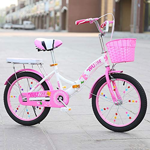 Bicicleta para niños Big Boy 20 Pulgadas Bicicleta de 18 Pulgadas, Primaria, niño y niña Princesa Dos Bicicletas Plegables Redondas A ++