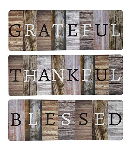 """Chiaravita Rustic Farmhouse Grateful Thankful Blessed Home Decor Sign - Solid Wood 17.1"""" x 6"""" Inspirational Wall Art Signs for Living Room, Dining Room, Kitchen, Bedroom, Bathroom and Home…"""