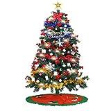 EKUPUZ - Árbol de Navidad artificial (150 cm, iluminación LED, con piñas de abeto, color rojo y baya)