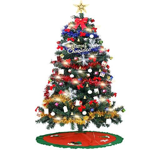 EKUPUZ Sapin de Noël, 150cm Artificiel avec Jupe darbre de Noël LEDs lumières 105 Ornements détachables, Montage Facile, Décoration Noël pour Maison, Magasin, Bureau, Extérieur (5ft)