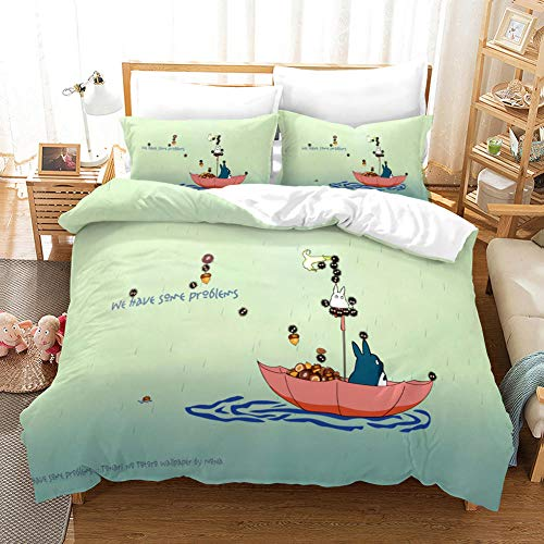 3D Duvet Covers Double Anime Cute Totoro Microfiber Quilt Cover Bedding Set With Pillocases 78.7 X 78.7 inch 3 Pcs Bedding Set