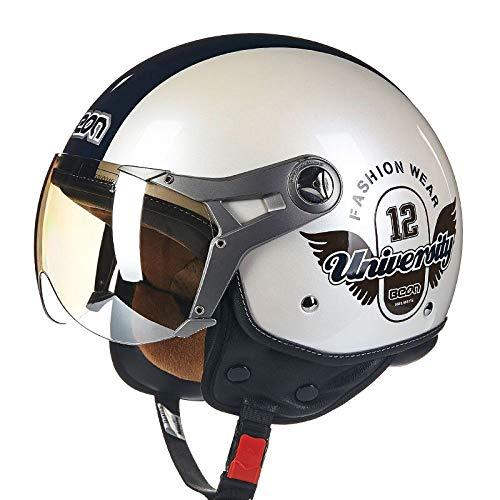 BEON Motorrad Halber Helm -100B MäNner Und Frauen Vier Jahreszeiten Jet Helm ABS BelüFtung Anti-Fog-Linse Motorradhelm FüR Harley,WhiteA-XL(57-60cm)