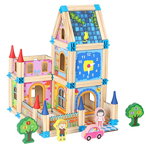Wondertoys 128 Pcs Wooden Castle Dollhouse with 2 People,...