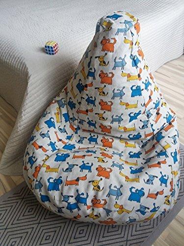 Sitzsack Leinen Bezug Kinderzimmer Möbel Natürliche Stoffe Hunde Muster Bodenkissen Sessel Originelle Geschenkidee Mit Liebe Handgemacht Mit Innenbezug OHNE FÜLLUNG