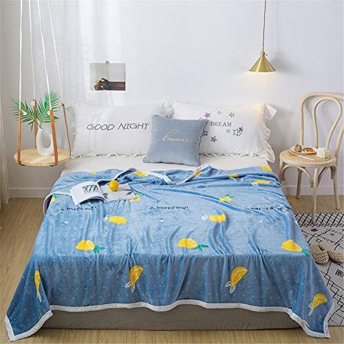 GNMDC deken van stof, super zacht, flanel, picknickdeken, motief tropische vruchten, anime-stijl, deken van pluche, 180 x 220 cm