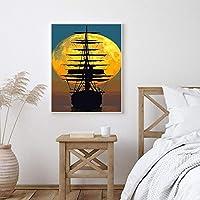 抽象的な空の夕日ボート海のポスターと版画絵画キャンバスアートスカンジナビアの壁の写真リビングルーム寝室70x100cmフレームレス