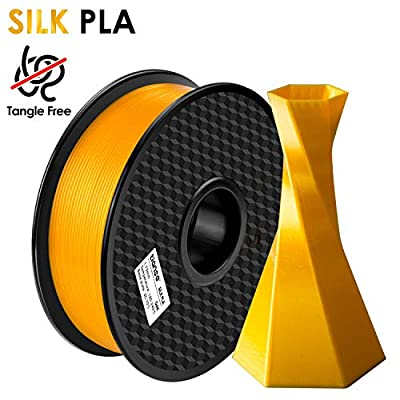 TIANSE Silk 3D Printer Filament 1.75mm 1KG (2.2LBS) Spool Filament for 3D Printing, Dimensional Accuracy +/- 0.03 mm (Gold)?Tangle Free & No Plugging?