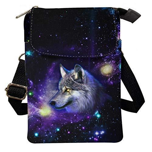 Agroupdream Bolsa de hombro portátil de lona multifunción, bolsa de viaje para teléfono móvil, diseño de lobo de compras diarias para mujeres y niñas, bolso de mano