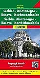 Serbien - Montenegro - Kosovo - Nordmazedonien, Autokarte 1:500.000 (freytag & berndt Auto + Freizeitkarten)