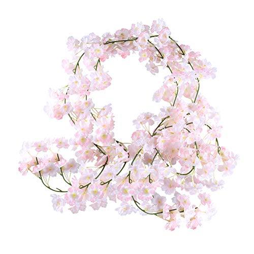 HUAESIN 2PCS Guirnaldas Artificiales de Cerezo Artificiales Enredaderas Flores Colgantes con Cabezas de Seda Vid Falsa Vines Fake Vines Silk Ivy para Boda Cocina Pared Al Aire Libre Fiesta