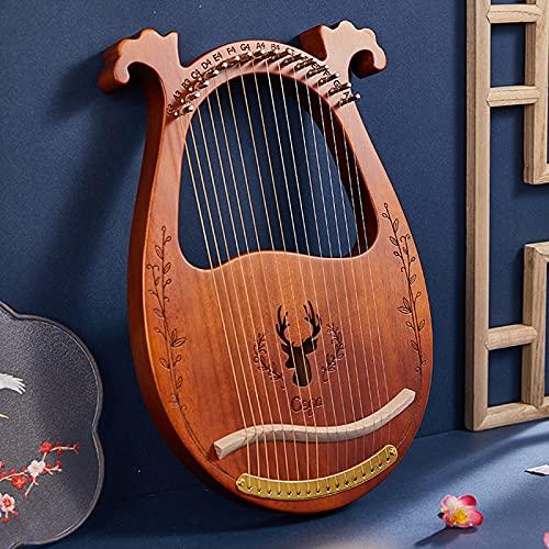 SXMY Lyre Harp, Arpa de Caoba de Madera Maciza con Bolsa de Transporte y Símbolos Fonéticos Tallados, para Principiantes Amantes de la Música,003,16 Strings