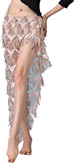 MUNAFIE Hip Scarf for Belly Dance Folk Dance Halloween Costume Tribal Dance Skirt with Sequin Tassel