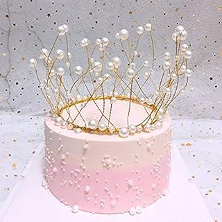Metal Pearl Crown Cake Topper Lustrous Faux Pearl Tiara Wedding Engagement Birthday Cake hat Handmade zhengpingpai