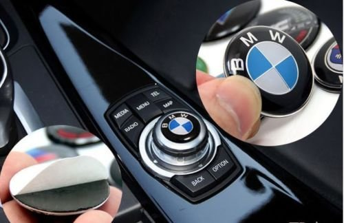 29mm White-blue emblem M Sport Button i Drive Controller Badge Logo Multimedia Sticker
